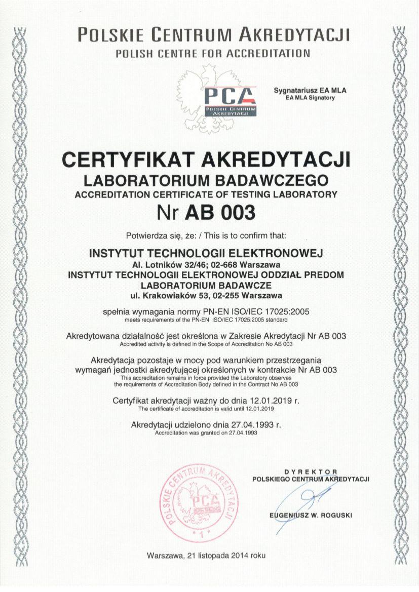 AB 003 2014 certyfikat