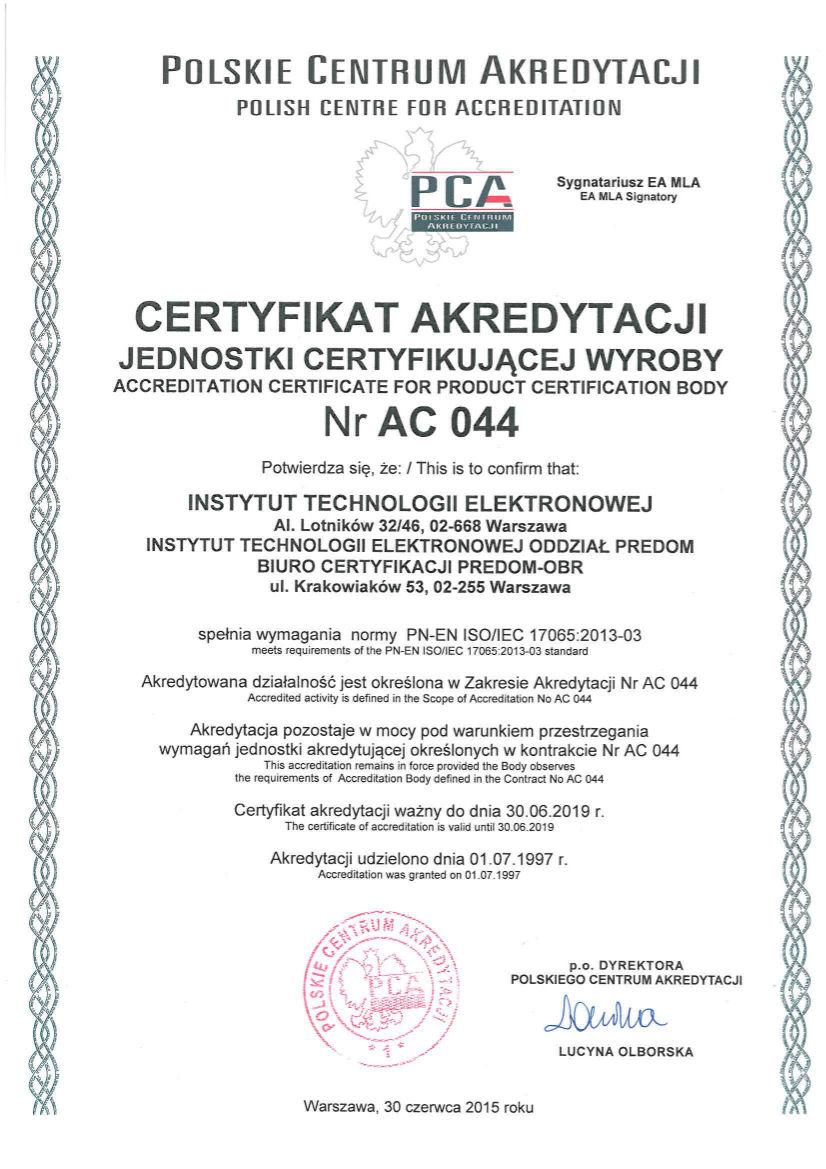 AC 044 2015 certyfikat
