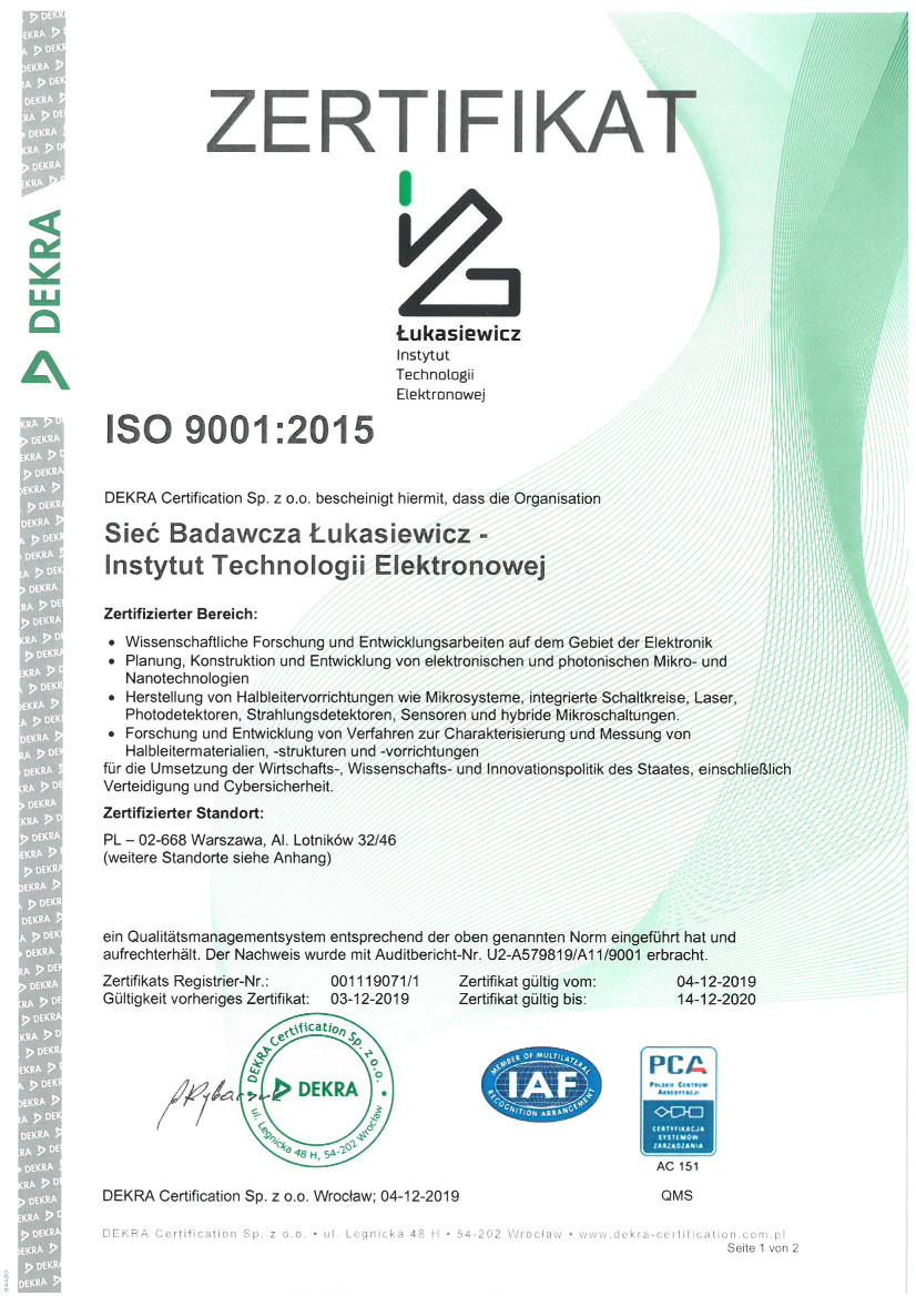 Certyfikat ISO 9001 - wersja niemiecka