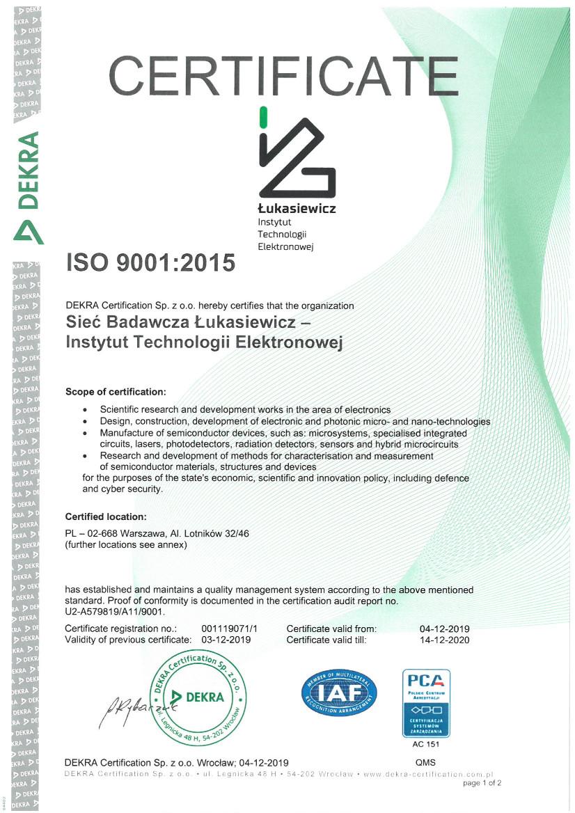 Certyfikat ISO 9001 - wersja angielska