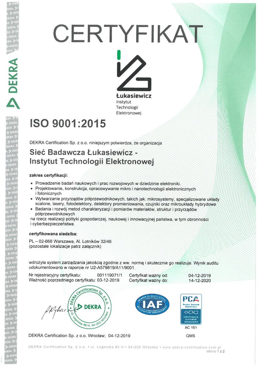 Certyfikat ISO 9001 - wersja polska